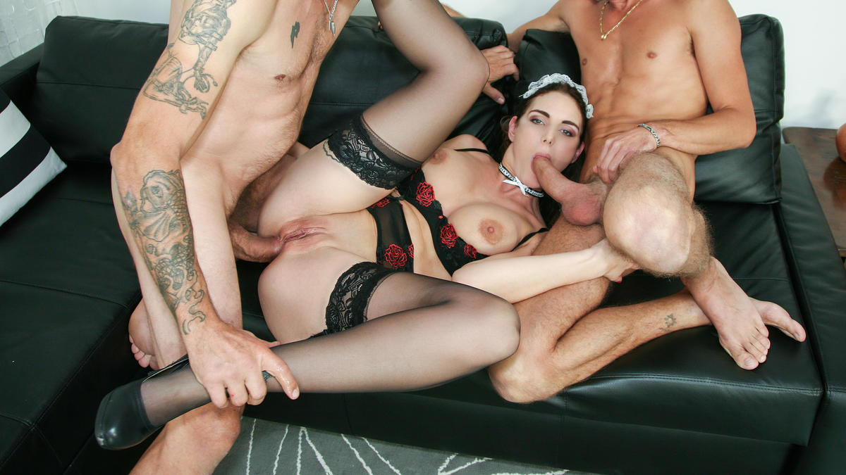 Marie Clarence in Squirting Italian maid Marie Clarence gets DP in hardcore MMF casting