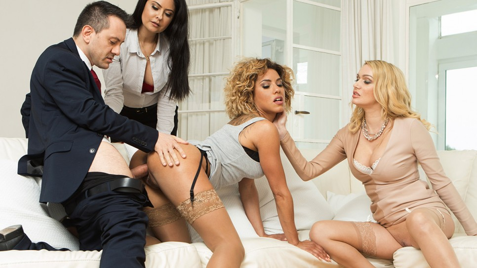Rose Valerie and Amber Jayne with Mariska X in His wife offers him 2 slutty girls