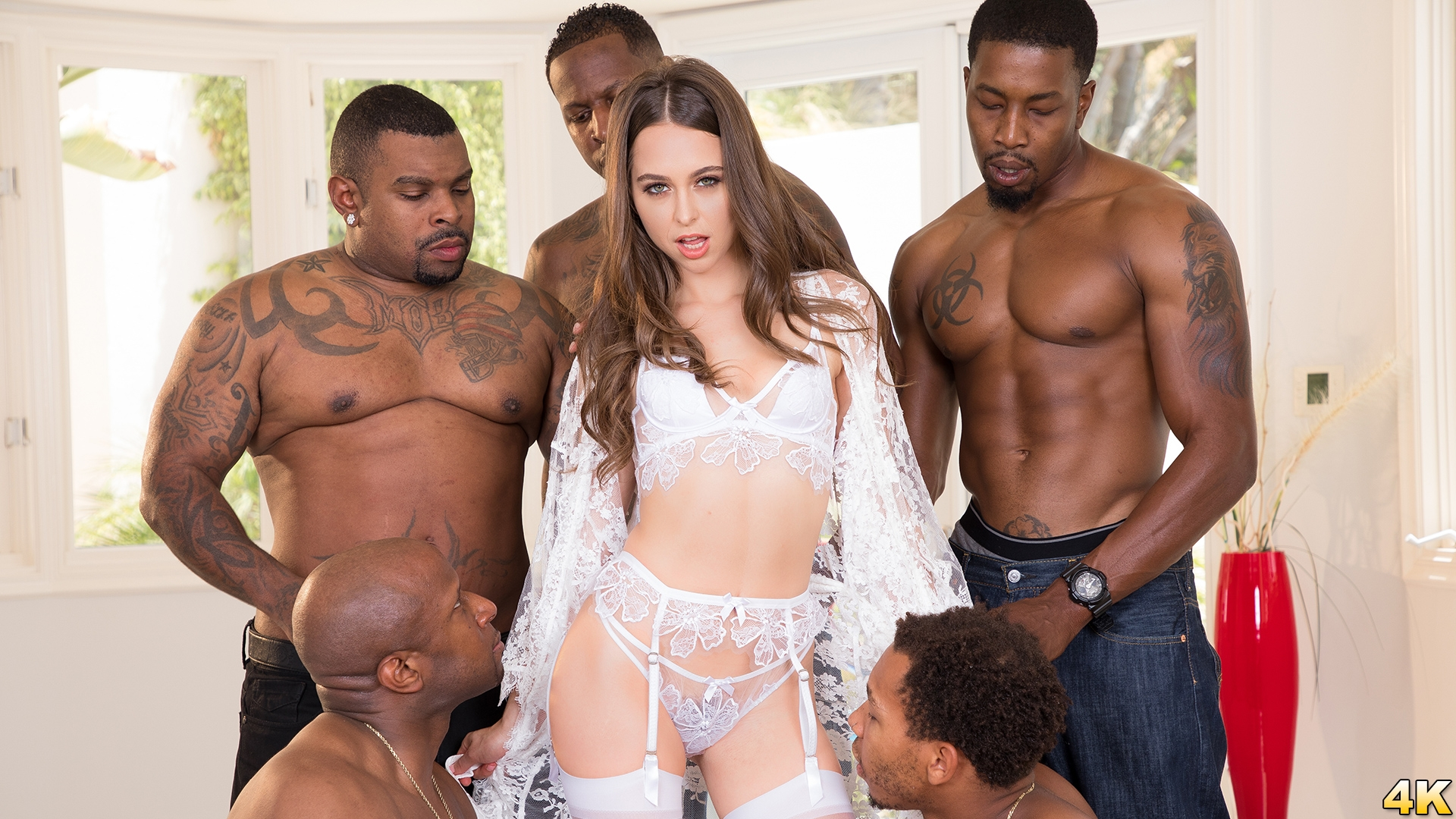 Riley Reid in Riley Reid Interracial Gangbang! No Holes Barred! Where Will All Those Big Black Cocks Go?