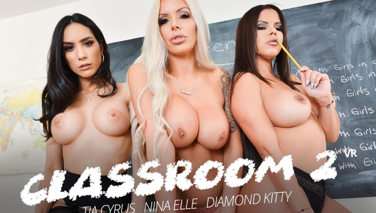 Diamond Kitty and Nina Elle with Tia Cyrus in Detention time with Diamond Kitty, Nina Elle, and Tia Cyrus