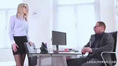 Blonde secretary Rose Delight fucked on the office desk by horny boss GP892