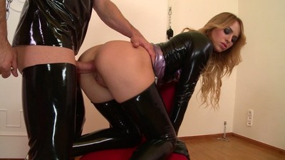 Latex Mistress Aleska Diamond lets submissive dude fuck her ass super deep GP990